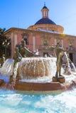Valencia Neptuno-fontein in Plein DE La virgen Stock Afbeelding