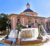 Valencia Neptuno-fontein in Plein DE La virgen Royalty-vrije Stock Afbeeldingen