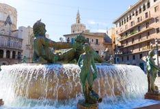 Valencia Neptuno-fontein in Plein DE La virgen Royalty-vrije Stock Foto