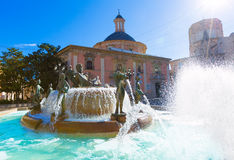 Valencia Neptuno fountain in Plaza de la virgen Royalty Free Stock Photos