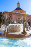 Valencia Neptuno fountain in Plaza de la virgen Stock Image