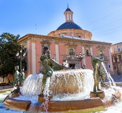 Valencia Neptuno fountain in Plaza de la virgen Royalty Free Stock Images
