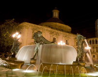 Valencia at night. Main square in valencia, spain Royalty Free Stock Photography