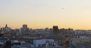 Valencia old town cathedral sunset roof top view 4k spain stock video footage