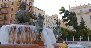 Valencia old town fountain plaza 4k spain stock video