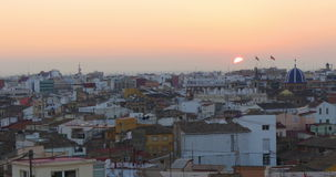 Valencia old town panorama torres de serranos 4k spain stock video