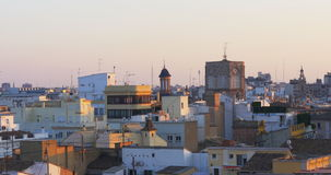 Valencia old town sunset panoramic view from torres de serranos 4k spain stock video footage