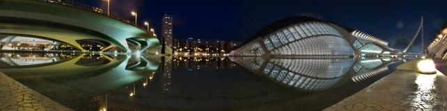 Valencia på natten Arkivfoto