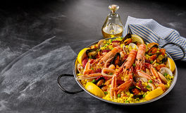 Valencia paella with seafood and shellfish Royalty Free Stock Photo