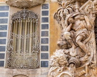 Valencia Palacio Marques de Dos Aguas palace. Facade in alabaster at Spain Royalty Free Stock Photos