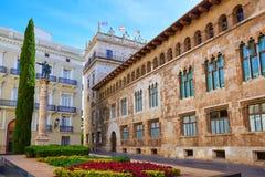 Valencia Palau Generalitat in Manises square Spain Stock Images