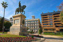 Valencia Parterre Alfonso Magnanimo statue Royalty Free Stock Photo