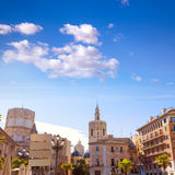 Valencia Plaza cathedral and Miguelete Spain Stock Photo