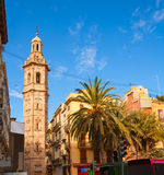 Valencia Plaza de la Reina with Santa Catalina church tower Stock Photos