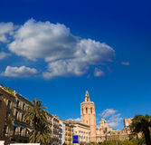 Valencia Plaza de la Reina square with Cathedral and Miguelete Stock Photography