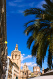Valencia Plaza de la Reina square with Cathedral Stock Images