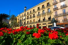 Valencia Plaza de la Reina square in Spain. Valencia Plaza de la Reina square facades in Spain stock photo