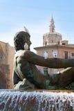 Valencia Plaza de la Virgen Neptuno foutain en Kathedraal Stock Fotografie
