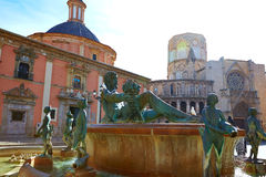 Valencia Plaza de la Virgen sq and Neptune statue Stock Photography