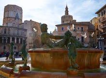 Valencia Plaza de la Virgen sq and Neptune statue Royalty Free Stock Image