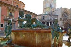 Valencia Plaza de la Virgen sq and Neptune statue Royalty Free Stock Photography