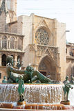 Valencia Plaza de la virgen square with Neptuno fountain Stock Photo