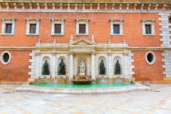 Valencia Plaza del Patriarca University fountain Royalty Free Stock Photo