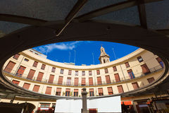 Valencia Plaza Redonda is a round square in Spain Royalty Free Stock Images