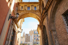 Valencia Plaza Virgen square with cathedral arch Royalty Free Stock Photo