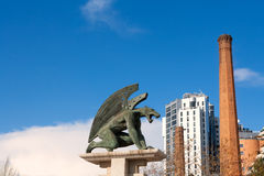 Valencia Pont del Regne reino bridge guardian gargoyles. Los guardianes del puente Stock Photography