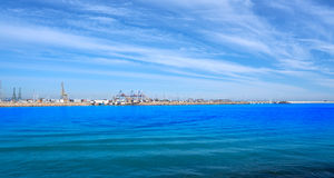 Valencia port and marina view from Pinedo Stock Images