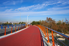 Valencia port view from bridge in Pinedo Royalty Free Stock Photo