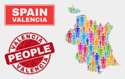 Valencia Province Map Population Demographics e selo riscado ilustração royalty free