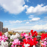 Valencia puente de Exposicion from city flowers bridge Royalty Free Stock Images