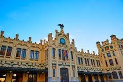 Valencia railway station facade North Estacio Royalty Free Stock Image