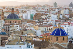 Valencia Skyline. Areal view, as seen from the miguelete, on the streets in Valencia, blue domes of ancient churches typical for this old european spanish city royalty free stock images