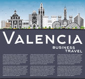 Valencia Skyline with Gray Buildings, Blue Sky and Copy Space. Royalty Free Stock Photos