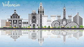 Valencia Skyline with Gray Buildings, Blue Sky and Reflections. Vector Illustration. Business Travel and Tourism Concept with Historic Architecture. Image for Royalty Free Stock Image