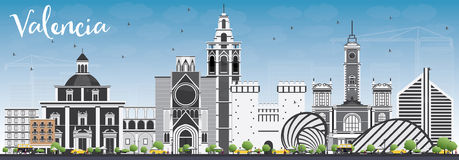 Valencia Skyline with Gray Buildings and Blue Sky. Vector Illustration. Business Travel and Tourism Concept with Historic Architecture. Image for Presentation Royalty Free Stock Image