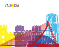 Valencia skyline pop. In editable vector file Royalty Free Stock Images