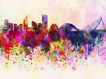 Valencia skyline in watercolor background. With splatters Royalty Free Stock Photos