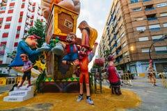 Valencia, Spagna, il 15 marzo 2018 Festival nazionale di Fallas Falla nell'area Benimaclet Immagini Stock
