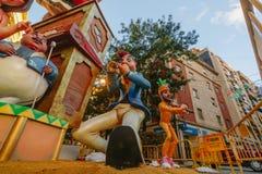 Valencia, Spagna, il 15 marzo 2018 Festival nazionale di Fallas Falla nell'area Benimaclet Immagini Stock Libere da Diritti