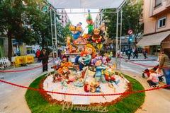 Valencia, Spagna, il 15 marzo 2018 Festival nazionale di Fallas Falla nell'area Benimaclet Fotografia Stock Libera da Diritti