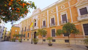 Valencia Spain City Center Architecture Details. Valencia Spain 25 December 2016: City Center Architecture Details with Orange Trees stock video