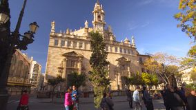 Valencia Spain City Center Church Details. Valencia Spain 25 December 2016: City Center Church Details Architecture stock video footage