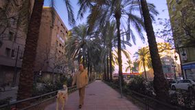 Valencia Spain City Center mit moderner Architektur stock footage