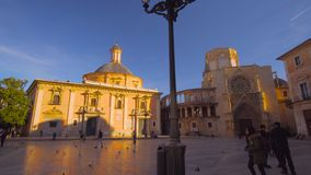 Valencia Spain City Center Virgin Square Church stock footage