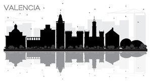 Valencia Spain City skyline black and white silhouette with Refl. Ections. Vector illustration. Business travel concept. Valencia Cityscape with landmarks Stock Images