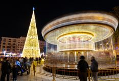 Valencia, Spain. December 2018: Christmas fair with carousel on Modernisme plaza of the city hall of Valencia, Spain. Valencia, Spain. December 2018: Christmas royalty free stock photography